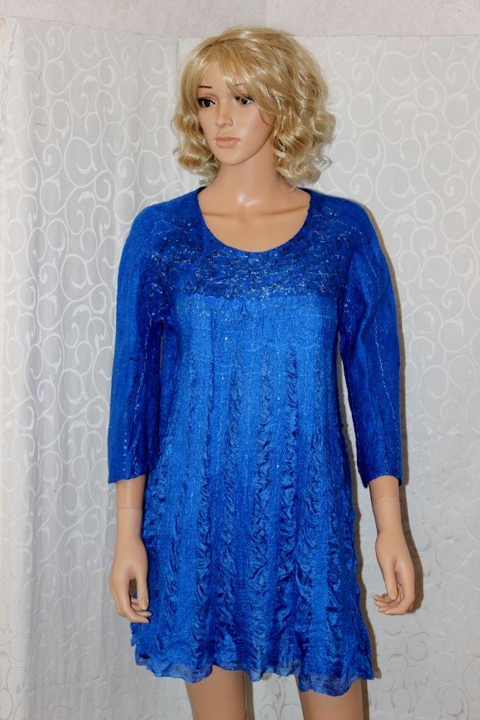 "felting dress ""royal blue"" by Lydmilaart.fi"
