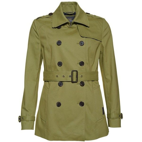 Superdry Summer Belle Trench Coat ($85) ❤ liked on Polyvore featuring outerwear, coats, sale women coats & jackets, superdry coats, cotton trench coat, green trench coats, metallic coat and trench coats