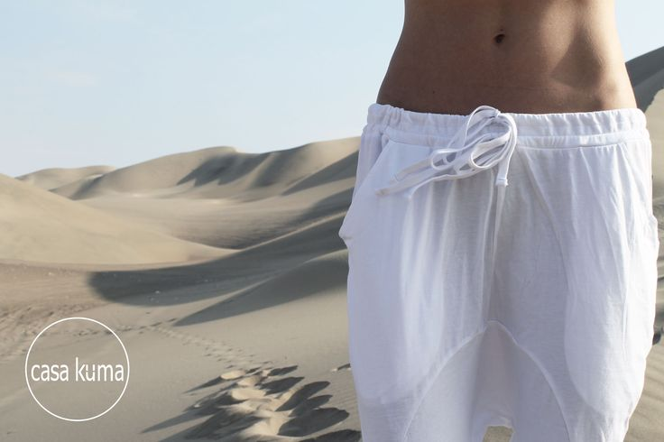 DETAILS/ Drop Crotch pants with double drawstring feature.