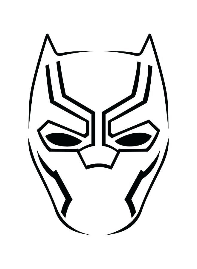 Black Panther Lineart Mask Coloring Page In 2020 Black Panther Drawing Black Panther Avengers Pumpkin Carving Stencil