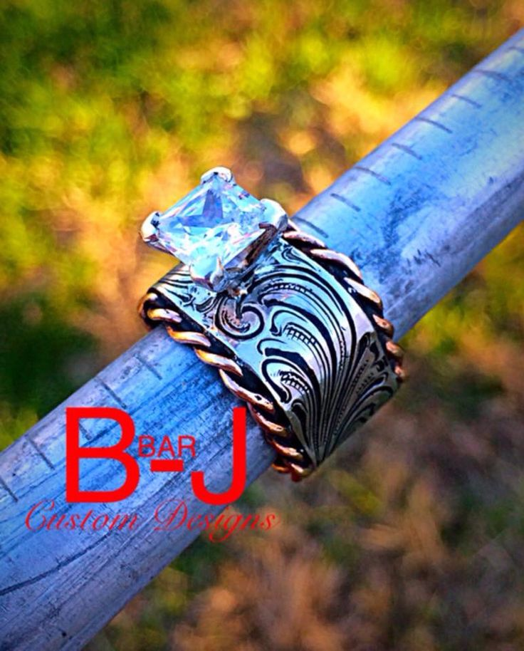 B Bar J western wedding ring