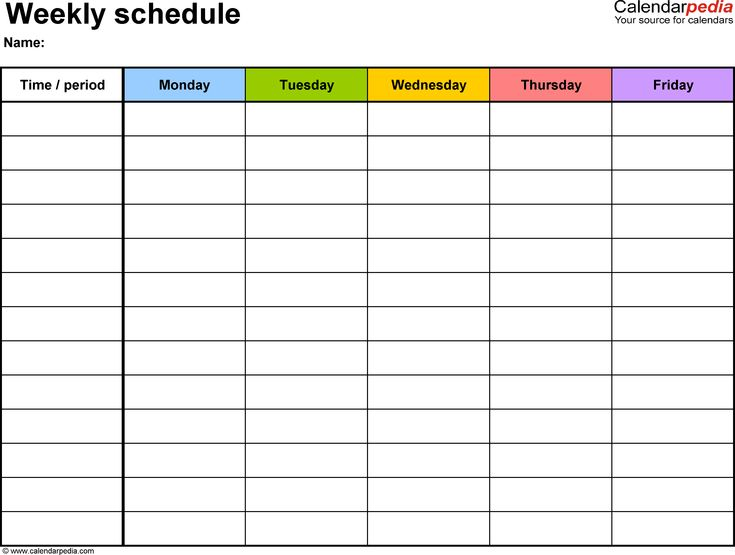 Weekly schedule template for PDF version 1: landscape, 1 page, Monday to Friday (5 day week), in color