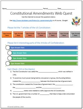 This one page (front and back) US Constitution and Laws Social Studies/Civics webquest helps students develop their internet search skills while advancing their reading and understanding of informational text.  This is a great introductory lesson to help students develop beginning or deepen knowledge of our US Constitution and Laws.