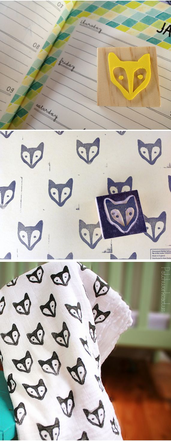DIY fox stamp made from craft foam (I love the background on the day planner!)