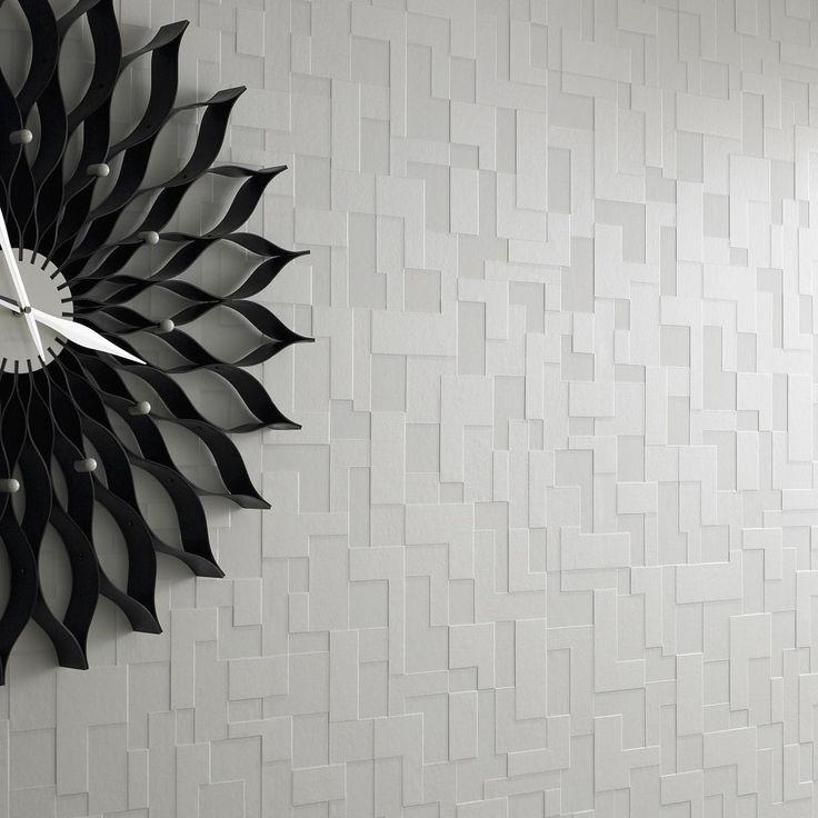 Vlies Tapete Struktur weiß kariert seidenglänzend geometrisch