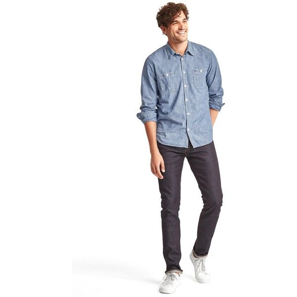 Gap Men 1969 Icon Worker Chambray Shirt ($60) ❤ liked on Polyvore featuring men's fashion, men's clothing, men's shirts, men's casual shirts, gap mens shirts, mens long sleeve shirts, mens button front shirts, mens long sleeve chambray shirt and mens long sleeve casual shirts