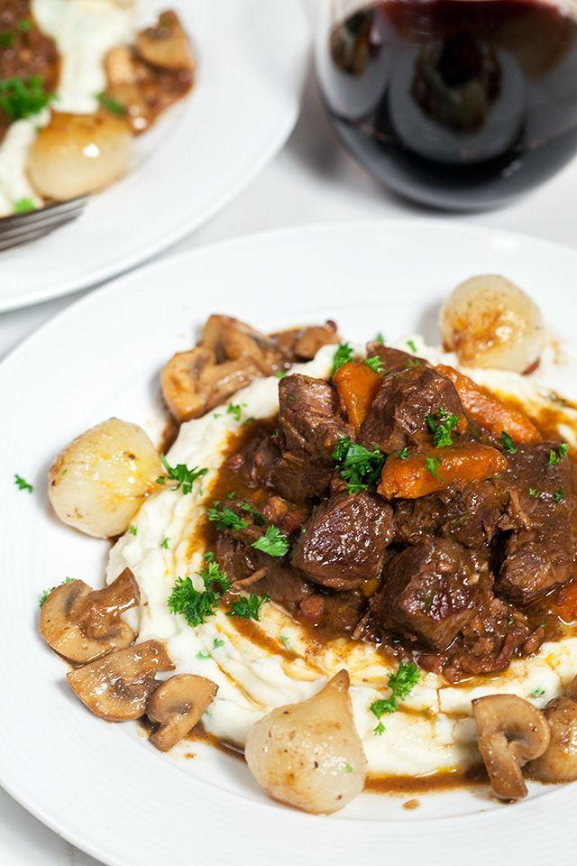 Julia's Beef Bourguignon and Garlic Mashed Potatoes | spachethespatula.com #recipe