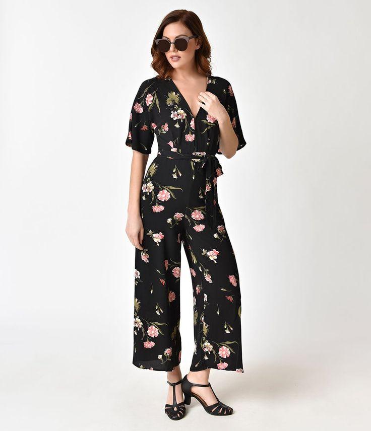 Black & Pink Floral Print Chiffon Wide Leg Jumpsuit