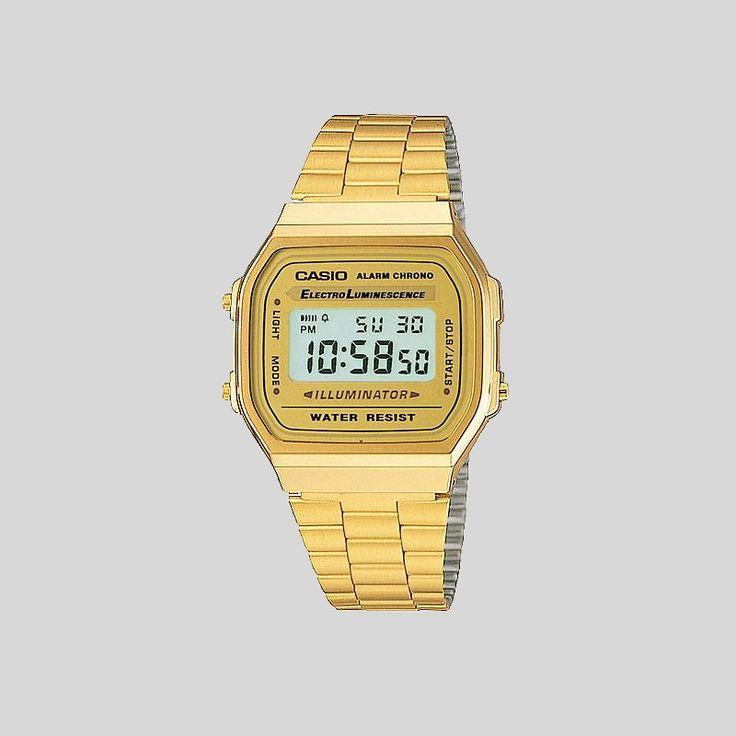 Relógio Casio Retro Alarm Chrono Dourado