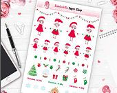 Christmas planner stickers, ec planner stickers, daily planner stickers, kawaii planner stickers, kawaii christmas, christmas stickers, eclp