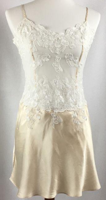 Victorias Secret Womens Nightie Size Medium Silk Sheer Lace Slip Chemise Ivory | eBay