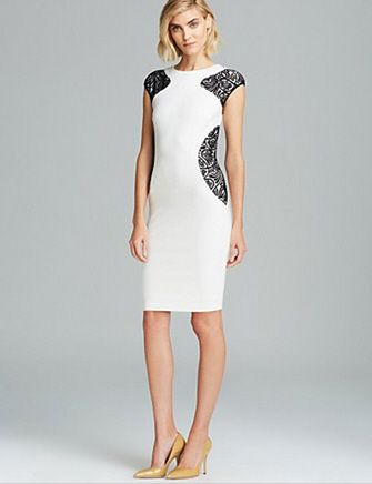 LAUNDRY BY SHELLI SEGAL Color Block Lace Ponte Sheath Dress