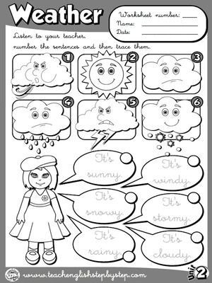 The Weather - Worksheet 2 (B&W version)