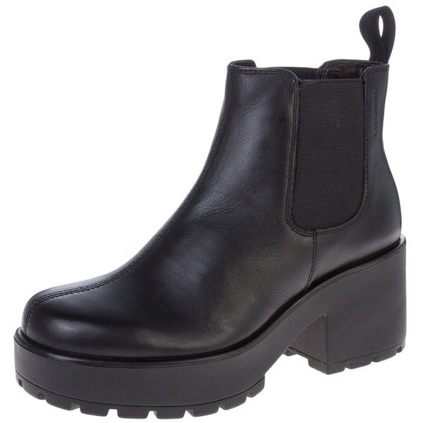 Vagabond DIOON Platform boots (£90) ❤ liked on Polyvore featuring shoes, boots, black, women's footwear, black faux boots, platform shoes, black leather boots, leather boots and synthetic leather boots