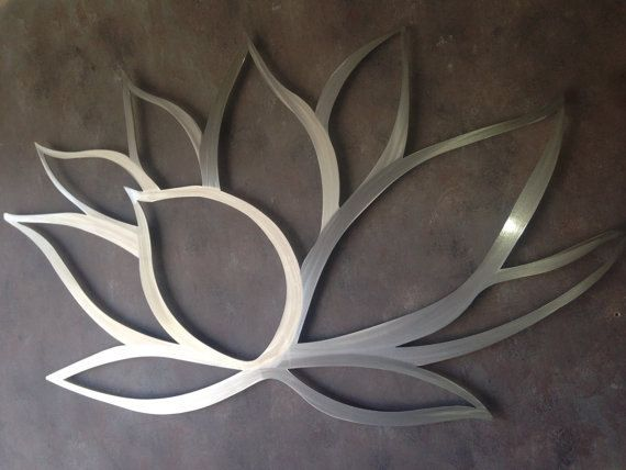 Lotus Flower Metal Wall Art – Lotus Metal Art – Home Decor – Metal Art – Wall Art – Large Metal Wall Art -Silver Wall Art – Art Above Bed