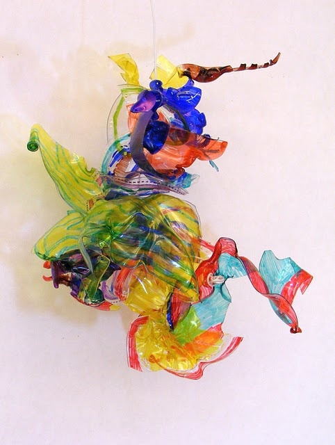 chihuly inspired plastic sculptures - recycled deli containers, sharpies, and a heat gun