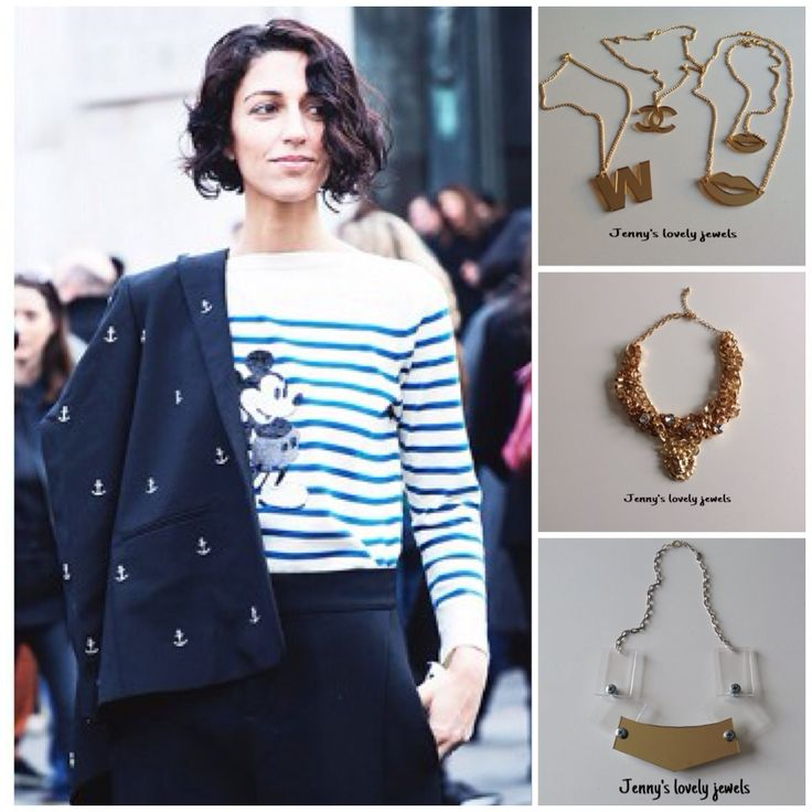 Street style ,necklaces ,gold, stripes