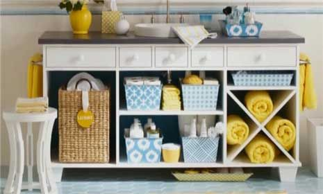 This is in a bathroom. But, I love the idea of taking a old dresser and opening it up for shelves