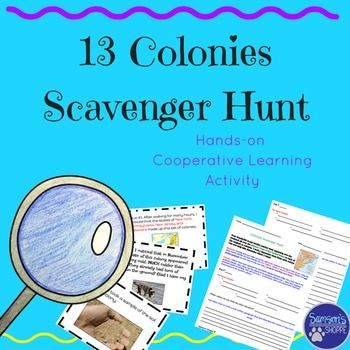 This product is a scavenger hunt activity that allows students to review the 13 colonies in a fun, collaborative way. Students will rotate to three different stations and use the clues at each station to determine which colony is being represented. Students then need to explain their thinking in a short response using supporting evidence and their knowledge of the colonies.