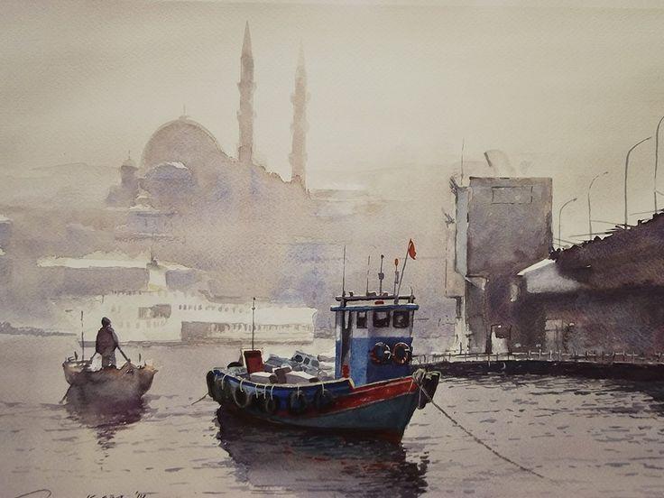 Hasan Kırdı Suluboya Çalışması.. Yeni Camii ve Galata Köprüsü