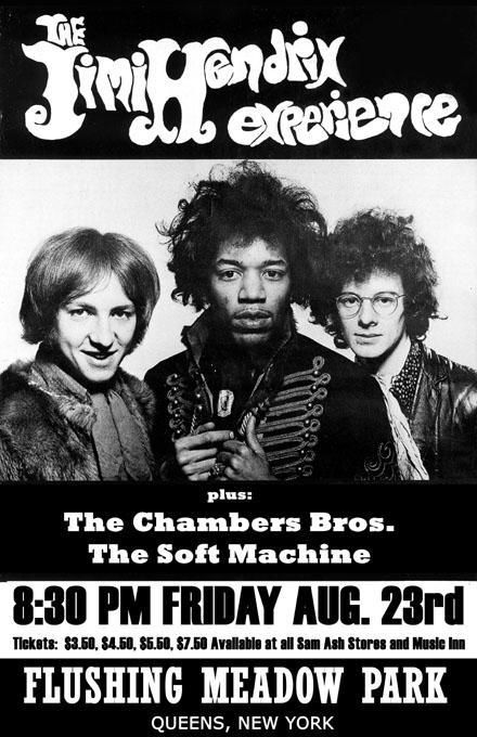 Jimi Hendrix Experience, The Chambers Brothers, and The Soft Machine.  1968 in Queens, NY.