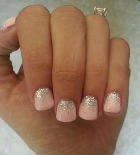 light pink nails with silver glitter fade. LCN gel.