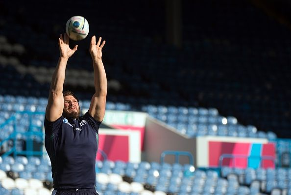Scotland's hooker Ross Ford takes part in a training session during the 2015 Rugby Union World Cup at Elland Road stadium in Leeds on September 25...
