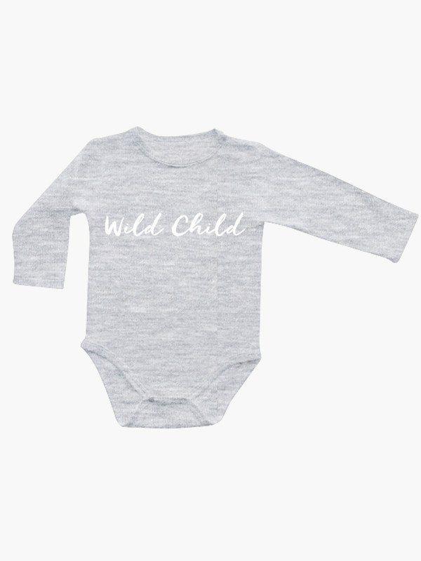 Bamboo Baby Long Sleeve Onesie - Wild Child Grey Marle. 95% Bamboo 5% Elastane. Super soft and silky.