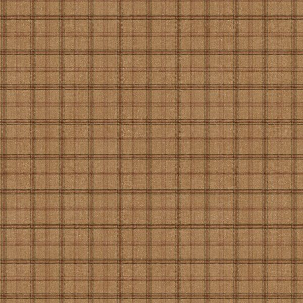 Rustic Saddle Brown Plaid Wallpaper Double Roll Bolts In
