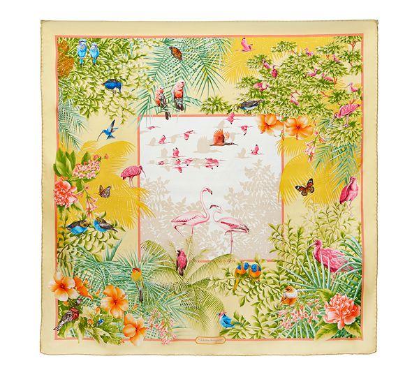 Salvatore Ferragamo Flamingo Print Silk Scarf