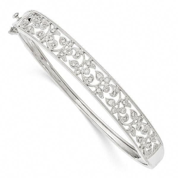 1 2 Carat Diamond Vine Bangle Bracelet 14k White Gold Tennisbracelets Diamond Bangles Bracelet Bangle Bracelets Tennis Bracelet Diamond