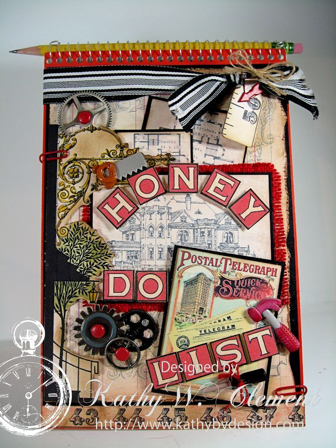Fun Honey Do List Tutorial by Kathy Clement using Crafty Secret's CD # 3 Creating With Vintage Typography