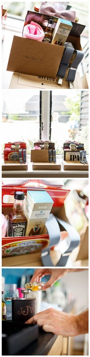 Gifts for the groomsmen. Making up a hamper of gifts for your best man and groomsmen is a great way to say thank you. Toiletries, whisky and socks are great gifts for your best man or your dad.