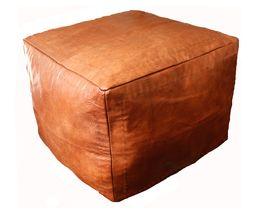 Marockansk Läder Sittpuff Natur Cube