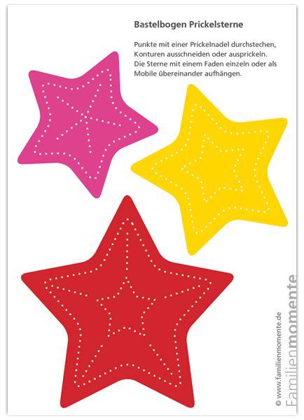 Weihnachtsmobile Sterne Rot/Gelb/Pink - Bastelbogen zum Prickeln