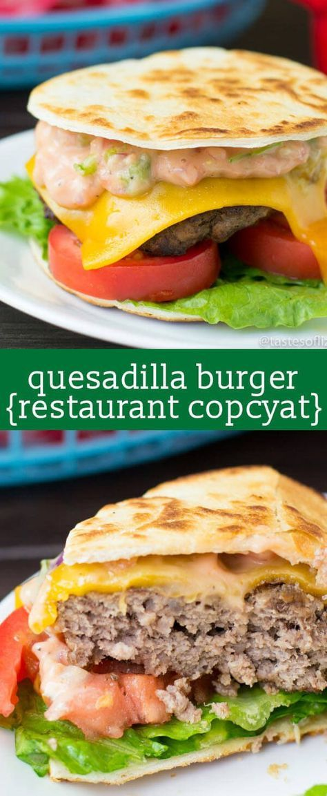 Quesadilla Burger...juicy grilled burger with cheese, pico de gallo, lettuce, and sauce in a flour tortilla! Our copycat version of an Applebee's favorite! best cheeseburger recipe / unique burger recipe / fun picnic food / fresh salsa via /tastesoflizzyt/