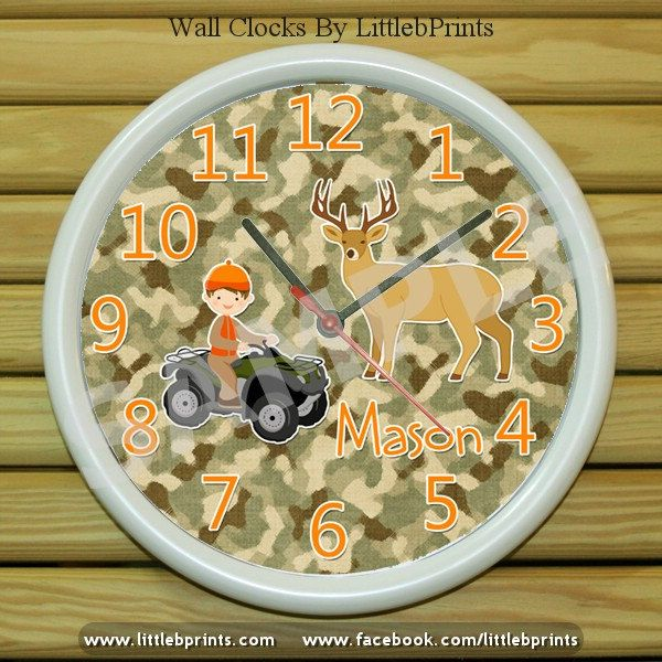 Personalized Wall Clock Deer Hunter Boy Camo By LittlebPrints 1800 Baby Room Ideas Pinterest