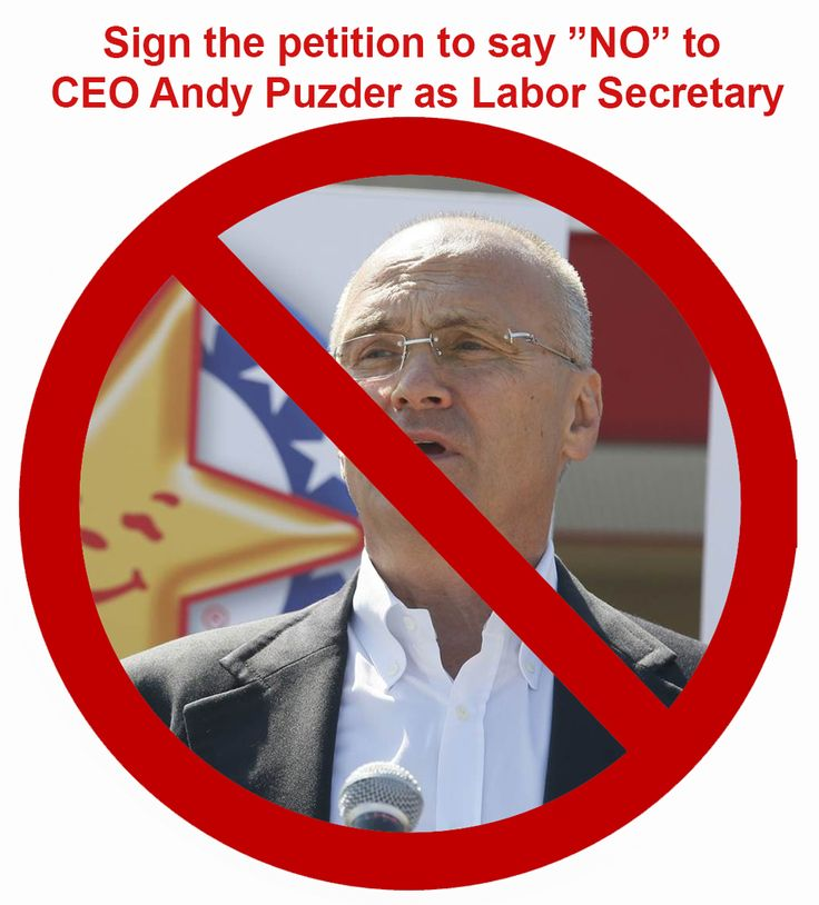 Trump's latest appointee for Labor Secretary is Andy Puzder, the CEO of CKE Restaurants, which includes the Carl's Jr. fast food chain. Sign our petition to Republican Chair Lamar Alexander today.
