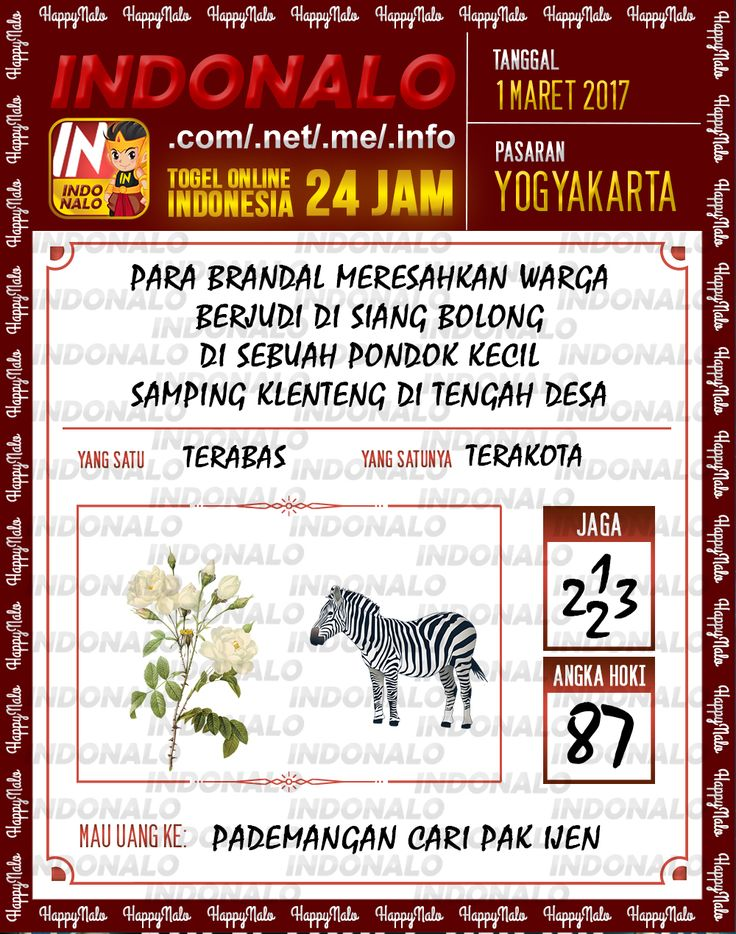 Rumus Taysen 6D Togel Wap Online Indonalo Yogyakarta 1 Maret 2017