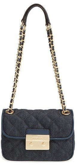 Michael Kors 'Small Sloan' Quilted Denim Shoulder Bag