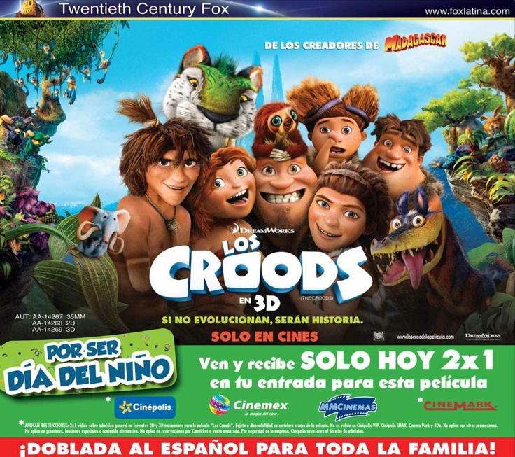 """Este abril 30, por el día del niño, """"Los Croods"""" te regalan boletos 2x1. Válido en Monterrey, Guadalajara y DF"""