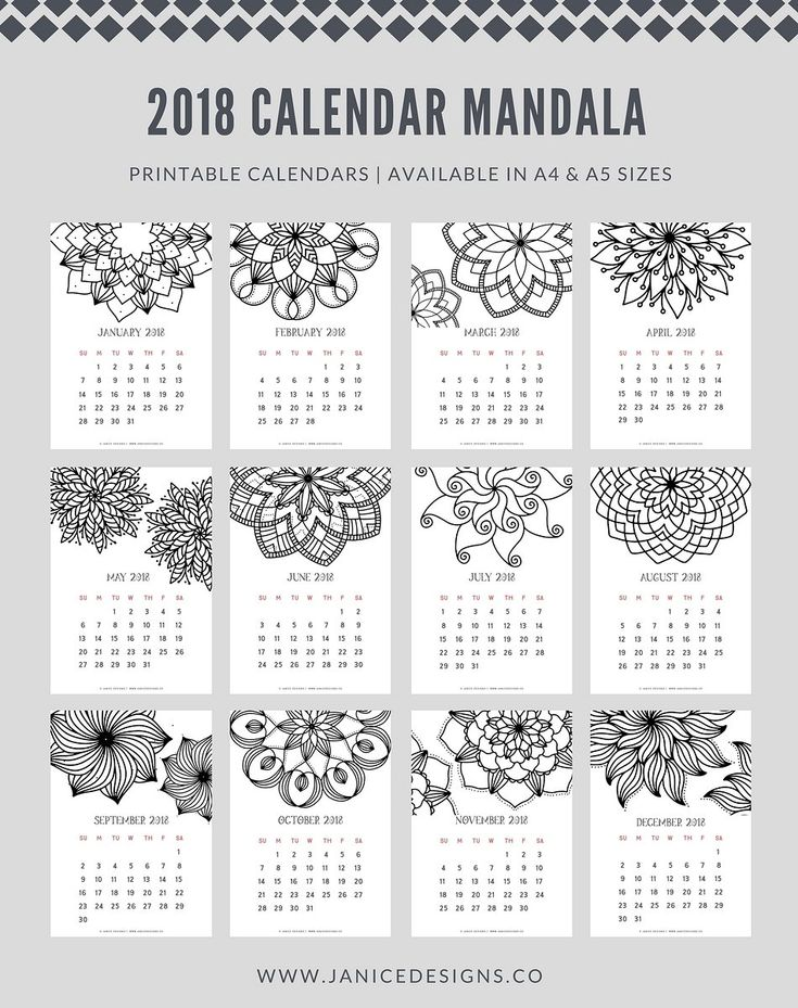 2018 Calendar: Mandala (Std) by Janice Designs on @creativemarket