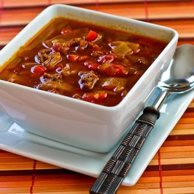 Goulash Soup with Red Peppers and Cabbage - hcg p2 friendly minus the olive oil of course.