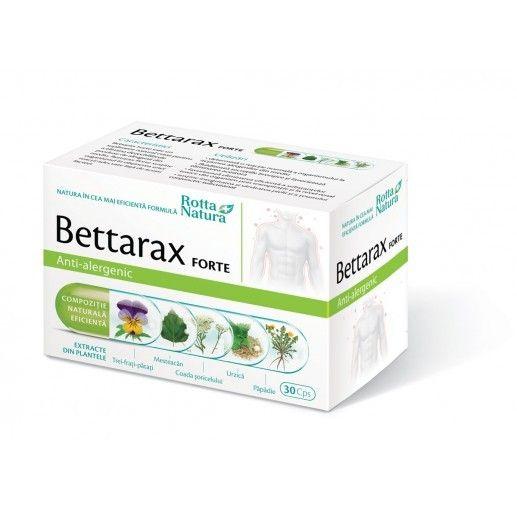 Bettarax Forte - 30 cps - elimină dezechilibrele produse de factorii alergenici. Cele 5 extracte prezente ajută la eliminarea toxinelor din organism, au actiune de sustinere a funcțiilor respiratorii și de menținere a sănătății pielii.