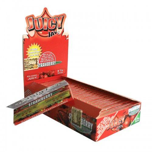 Tα χαρτάκια Juicy Jays strawberry μεσαίου μεγέθους είναι τα μοναδικά τσιγαρόχαρτα με αληθινή γεύση και άρωμα φράουλας από το πρώτο μέχρι το τελευταίο φύλλο.Τα προϊόντα Juicy Jays κατασκευάζονται με το περίφημο σύστημα triple-dip για επιπλέον γεύση.