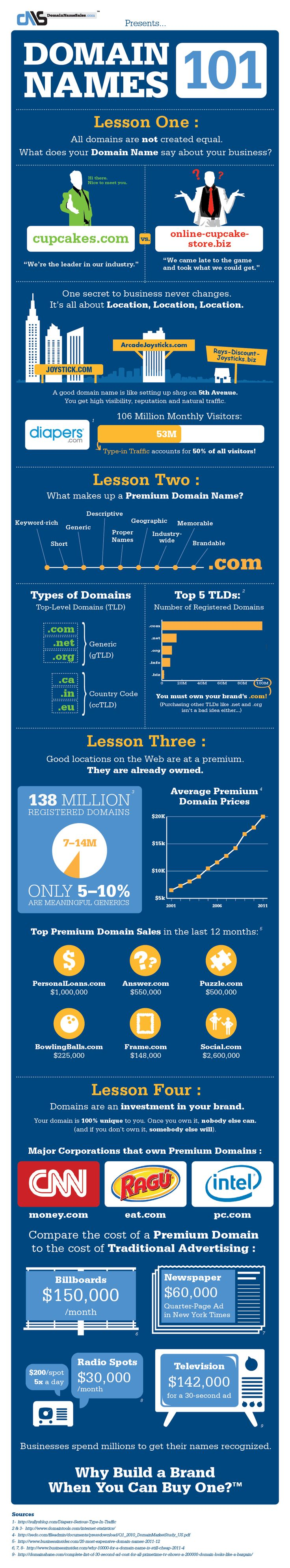Domain Names 101: Your businesss most important marketing tool explained   Infographic by DomainNameSales.com