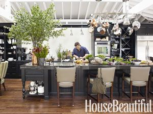 Black kitchen cabinets from House Beautiful Kitchen of the Year (a temporary kitchen built at Rockefeller Center in July 2011).  Designed by me and featured in the magazine. Cabinets are by Kraft Maid, color is Onyx, cabinet style is Harrington.