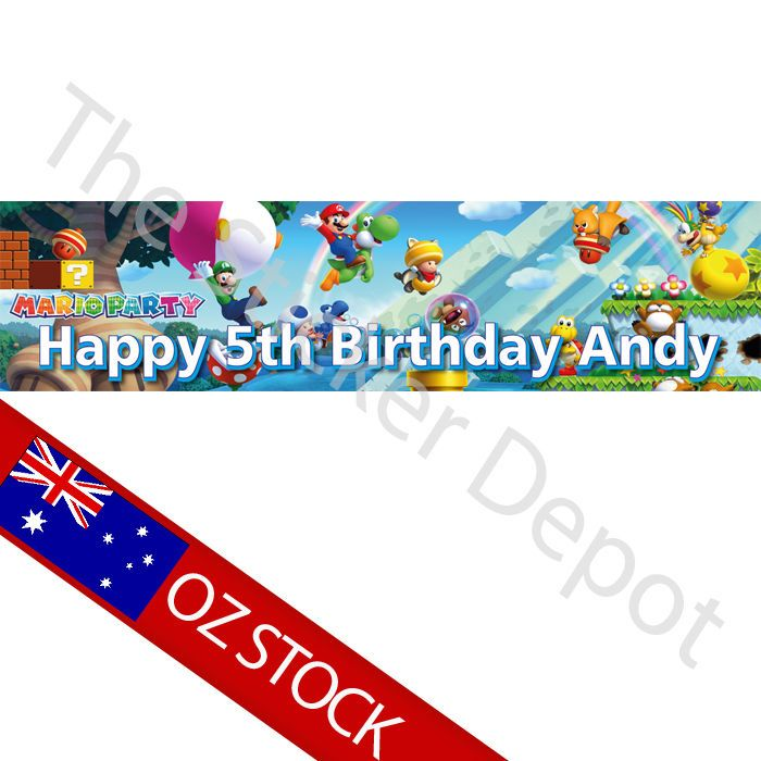 Mario Bros Personalised Birthday Banner – Add your name and age! in Balloons, Decorations | eBay