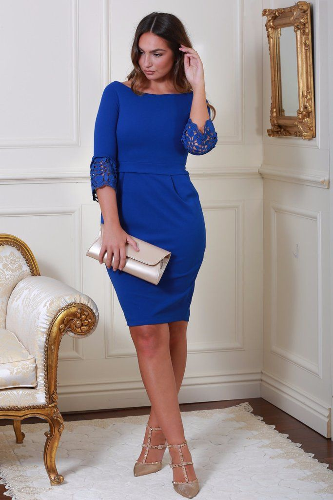 Uma Blue Tulip Midi Dress with Lace Sleeves