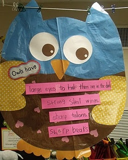 My mom made me two owls like she used for her owl unit.  We read books and then used interactive writing to write facts about owls.